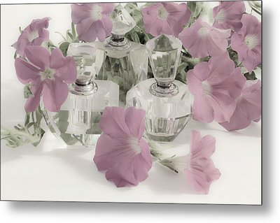 Petunias And Perfume - Soft Metal Print by Sandra Foster