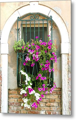 Metal Print featuring the photograph Petunias Through Wrought Iron by Donna Corless