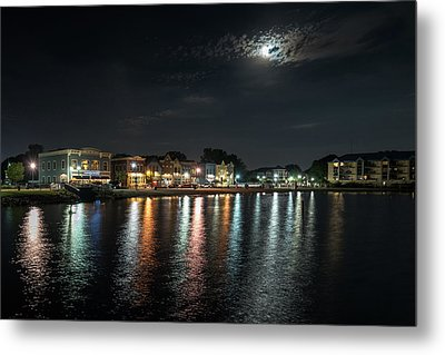 Pewaukee At Night Metal Print