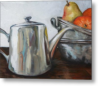 Pewter Teapot And Bowls Metal Print by Amy Higgins