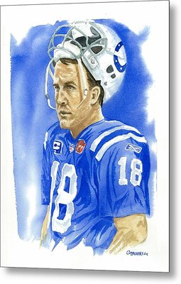 Peyton Manning - Heart Of The Champion Metal Print by George  Brooks