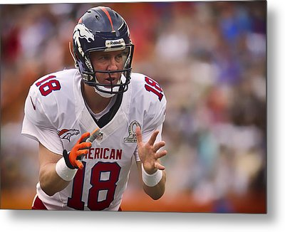 Peyton Manning Calls Out The Play Metal Print by Mountain Dreams