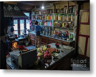 Metal Print featuring the photograph Phakding Teahouse Kitchen Morning by Mike Reid