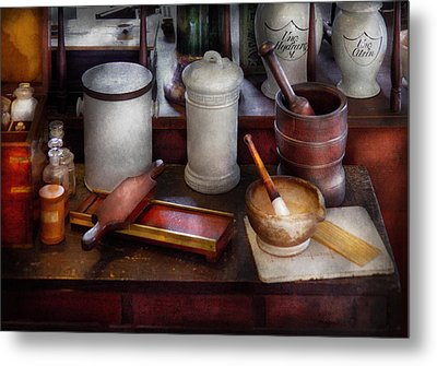 Pharmacist - Equipment For Making Pills  Metal Print by Mike Savad