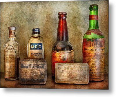 Pharmacist - On A Pharmacists Counter Metal Print by Mike Savad