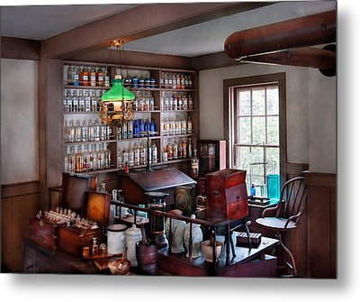 Pharmacist - Pharmacist From The 1880's  Metal Print by Mike Savad