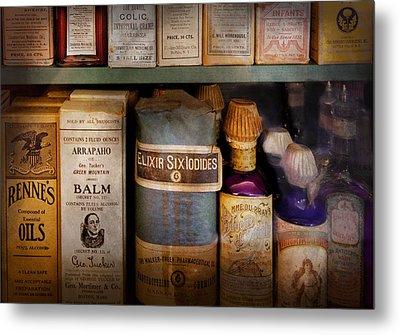 Pharmacy - Oils And Balms Metal Print by Mike Savad
