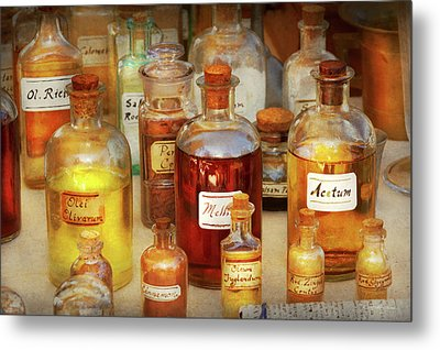 Metal Print featuring the photograph Pharmacy - Serums And Elixirs by Mike Savad