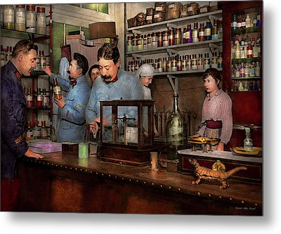 Metal Print featuring the photograph Pharmacy - The Dispensing Chemist 1918 by Mike Savad