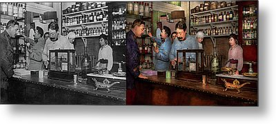 Metal Print featuring the photograph Pharmacy - The Dispensing Chemist 1918 - Side By Side by Mike Savad