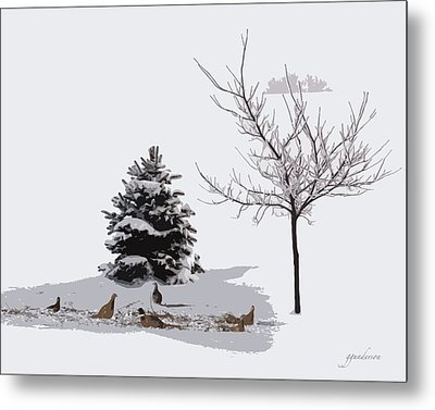 Pheasants In The Snow Metal Print by Gary Gunderson