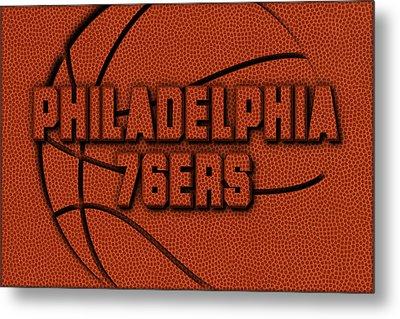 Philadelphia 76ers Leather Art Metal Print