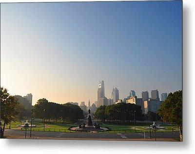 Philadelphia Across Eakins Oval Metal Print by Bill Cannon