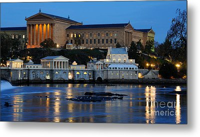 Philadelphia Art Museum And Fairmount Water Works Metal Print by Gary Whitton