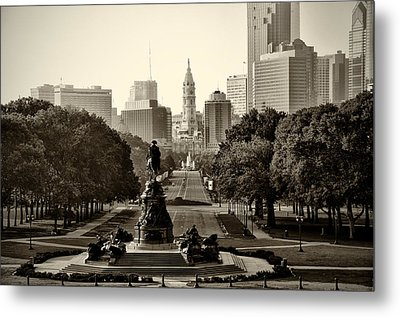 Philadelphia Benjamin Franklin Parkway In Sepia Metal Print by Bill Cannon
