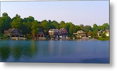 Philadelphia Boat House Row Metal Print by Bill Cannon
