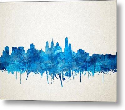 Philadelphia City Skyline Blue Metal Print