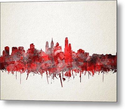Philadelphia City Skyline Red Metal Print