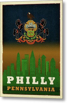 Philadelphia City Skyline State Flag Of Pennsylvania Art Poster Series 014 Metal Print