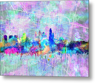 Philadelphia City Skyline Watercolor 2 Metal Print
