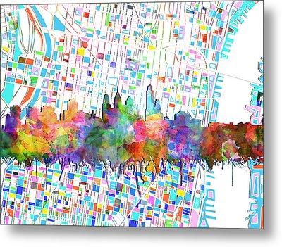 Philadelphia City Skyline Watercolor 5 Metal Print