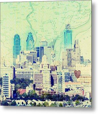 Philadelphia Cityscape Metal Print by Brandi Fitzgerald