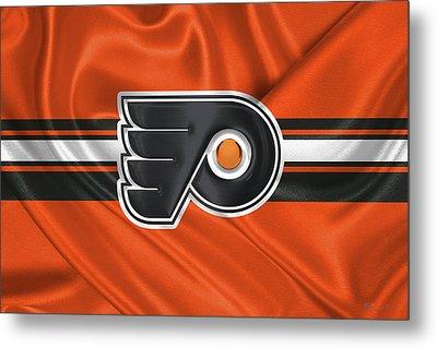 Philadelphia Flyers - 3 D Badge Over Silk Flag Metal Print