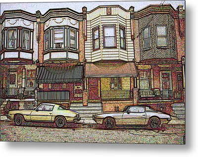 Philadelphia Homes - Color Pencil Metal Print