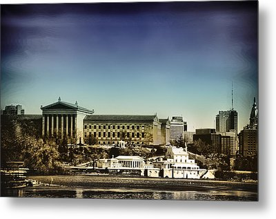Philadelphia Museum Of Art And The Fairmount Waterworks From West River Drive Metal Print by Bill Cannon