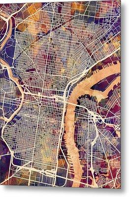 Philadelphia Pennsylvania City Street Map Metal Print