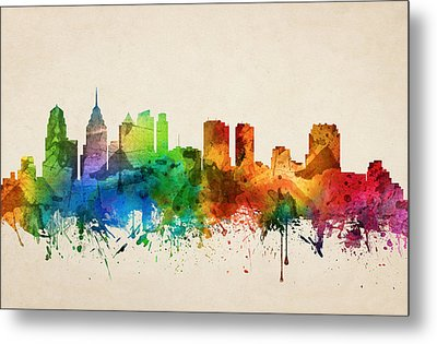 Philadelphia Pennsylvania Skyline 05 Metal Print by Aged Pixel
