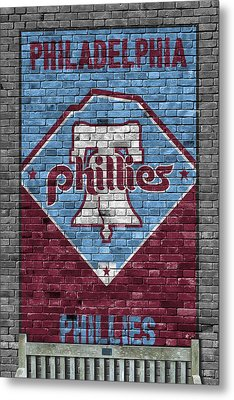 Philadelphia Phillies Brick Wall Metal Print by Joe Hamilton