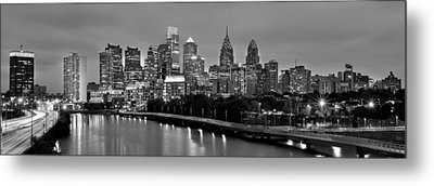 Metal Print featuring the photograph Philadelphia Philly Skyline At Dusk From Near South Bw Black And White Panorama by Jon Holiday