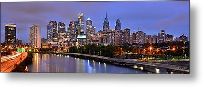 Metal Print featuring the photograph Philadelphia Philly Skyline At Dusk From Near South Color Panorama by Jon Holiday