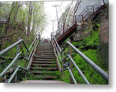 Metal Print featuring the photograph Philadelphia - Roxborough Avenue Steps by Bill Cannon