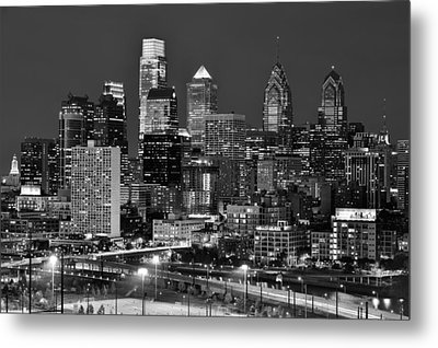 Philadelphia Skyline At Night Black And White Bw  Metal Print by Jon Holiday