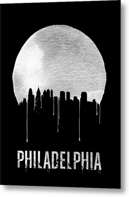 Philadelphia Skyline Black Metal Print by Naxart Studio