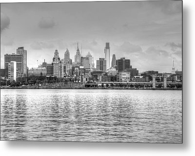 Philadelphia Skyline In Black And White Metal Print by Jennifer Ancker