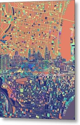 Philadelphia Skyline Map 2 Metal Print