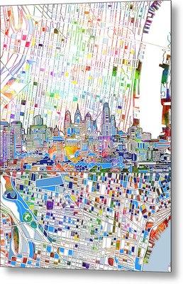 Philadelphia Skyline Map 3 Metal Print