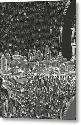 Philadelphia Skyline Map 4 Metal Print