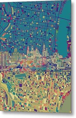 Philadelphia Skyline Map Metal Print