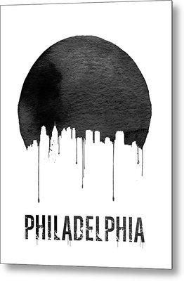 Philadelphia Skyline White Metal Print by Naxart Studio