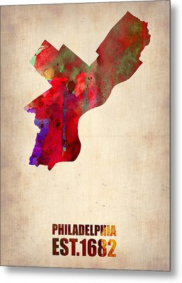 Philadelphia Watercolor Map Metal Print by Naxart Studio