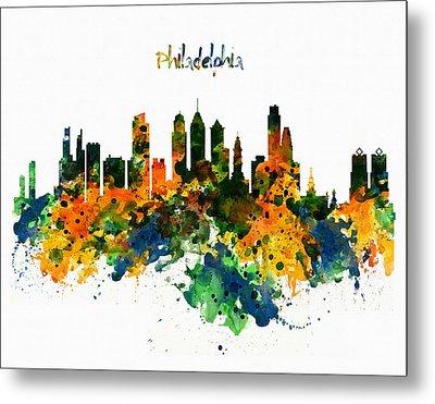 Philadelphia Watercolor Skyline Metal Print by Marian Voicu