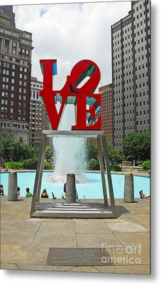 Philadelphia's Love Park Metal Print by Cindy Manero
