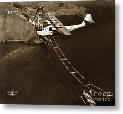 Philippine Clipper A Pan Am Clipper Over The Golden Gate Bridge  1935 Metal Print