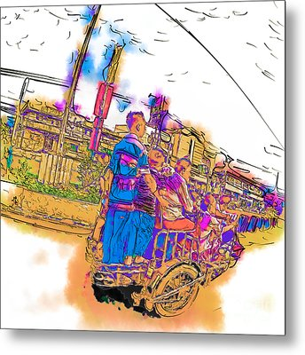 Philippine Family Tricycle Metal Print by Rolf Bertram