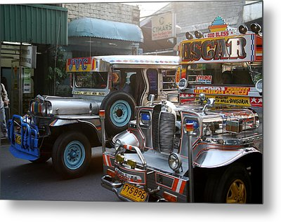 Philippine Jeepneys.  Metal Print by Christopher Rowlands