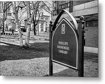 Phillips Memorial Library Providence College, Monochrome Metal Print by Nancy De Flon